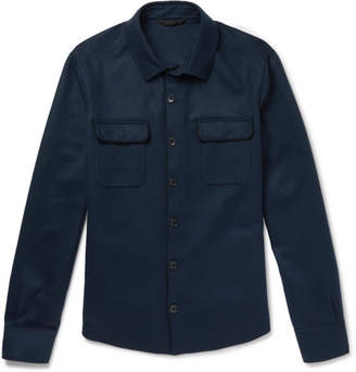 Loro Piana Suede-trimmed Cashmere Shirt Jacket - Navy