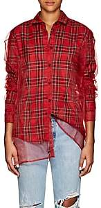 Y/Project Women's Tulle-Layered Plaid Flannel Blouse-Red