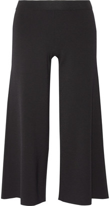 Theory - Henriet Cropped Stretch-knit Wide-leg Pants - Black $345 thestylecure.com