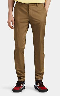 Lanvin Men's Knit-Striped Cotton Twill Slim Trousers - Beige, Tan