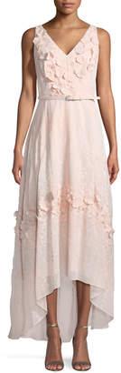 Karl Lagerfeld Paris V-Neck Floral Belted High-Low Dress