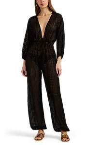 Eres Women's Gordon Silk-Blend Fil Coupé Jumpsuit - Black Pat.