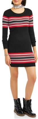No Boundaries Juniors' Striped Sweater Dress