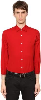 Burberry Stretch Poplin Shirt W/ Check Details