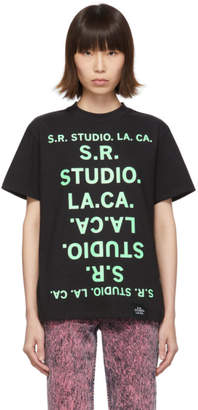 S.R. Studio. La. Ca. S.R. STUDIO. LA. CA. Black and Green Unlimited S.R.S. Double Logo Basic T-Shirt