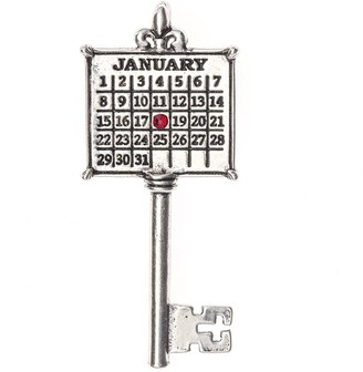 Silvertone Personalized Calendar Key Pendant