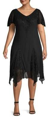 J Kara Plus Beaded Cocktail Dress With Godet Skirt