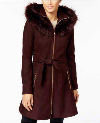 Laundry by Shelli Segal Faux-Fur-Trim Skirted Coat