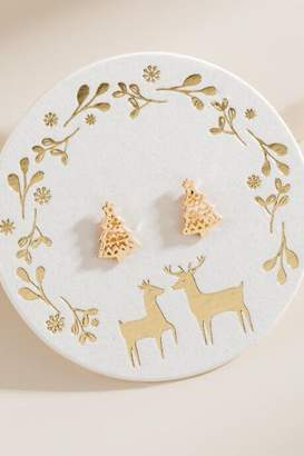 francesca's Christmas Tree Stud Earrings - Gold