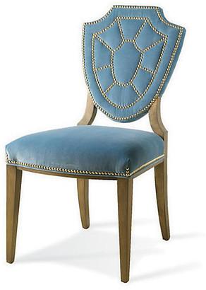 One Kings Lane Pawline Velvet Side Chair - Blue