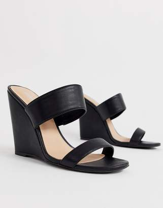 Public Desire Lena black wedge sandals