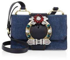 Miu MiuMiu Miu Lady Crystal-Buckle Denim Shoulder Bag