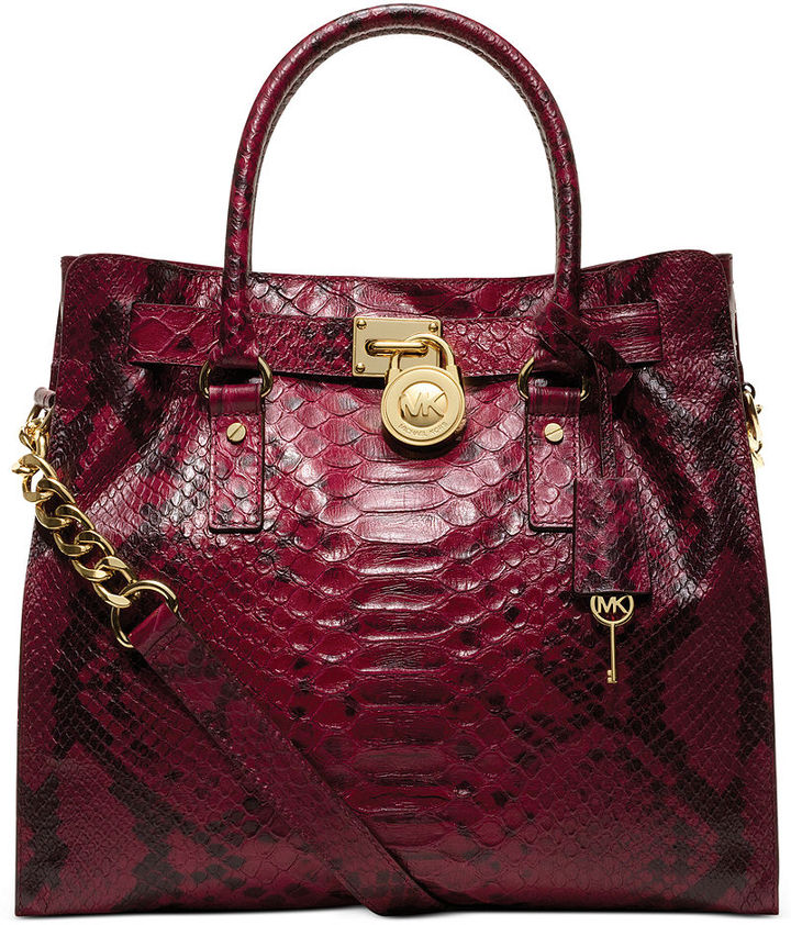 MICHAEL Michael Kors Handbag, Hamilton Anaconda Large North South Tote