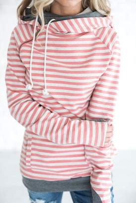 Ampersand Avenue DoubleHood Sweatshirt - Pink Stripe