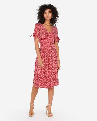 Express Printed Button Front Tie Sleeve Midi Dress