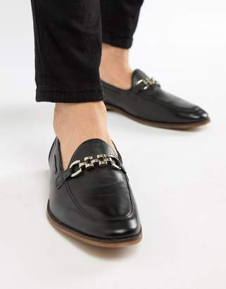 Asos DESIGN Loafers In Black Leather With Chain