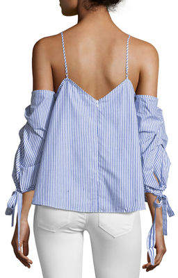STYLEKEEPERS Sea Side Cold-Shoulder Striped Top