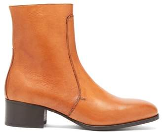 Lemaire Block Heel Leather Boots - Mens - Light Brown