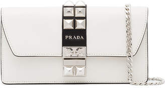 White studded leather wallet on chain