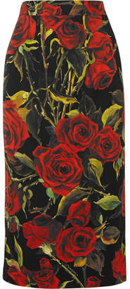 Dolce & Gabbana Floral-print Stretch-silk Pencil Skirt - Black