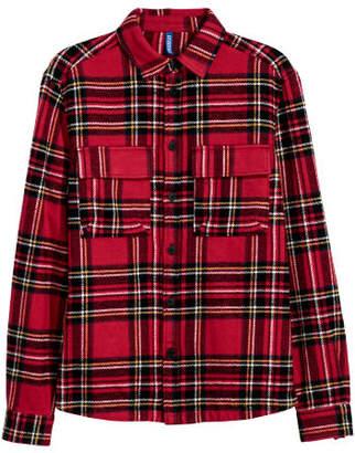 H&M Cotton Twill Shirt Jacket - Red