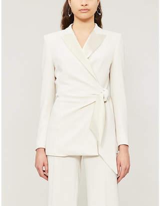Max Mara Elegante Lambro satin-lapel crepe wrap blazer