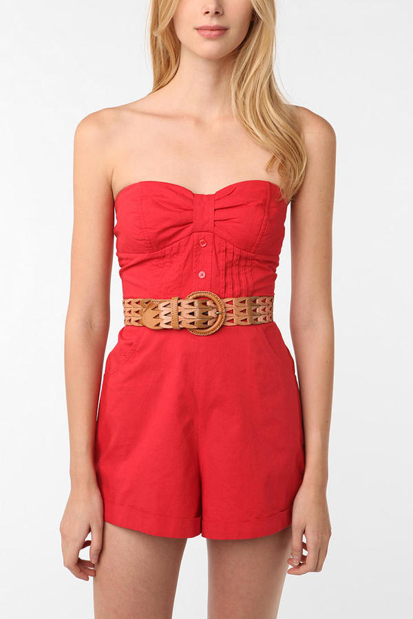Pins and Needles Bow Strapless Romper