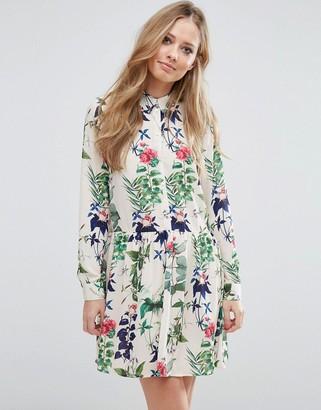 Vero Moda Drop Waist Floral Shirt Dress $58 thestylecure.com