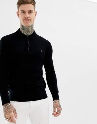 AllSaints 100% Merino Long Sleeve Polo In Black With Ramskull Logo