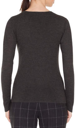 Akris Zigzag Tulle Inset V-Neck Long-Sleeve Cashmere-Silk Stretch Top