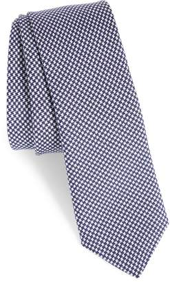 Eleventy Houndstooth Silk Skinny Tie