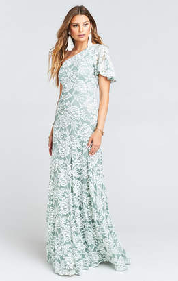 Show Me Your Mumu Portia One Shoulder Maxi Dress ~ Lovers Lace Silver Sage