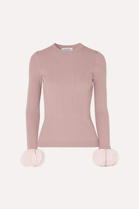 Valentino Silk Georgette-trimmed Ribbed Stretch-knit Sweater - Pink