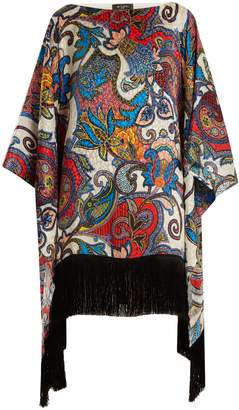Etro Graphic paisley-print fringe-trimmed silk top
