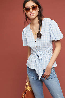 Maeve Gingham Puff-Sleeved Blouse