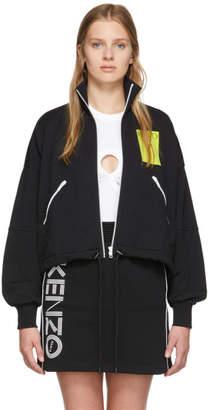Kenzo Black Two-Tone Zip-Up Sweater