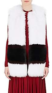 Derek Lam WOMEN'S STRIPED FOX FUR VEST-WHITE SIZE 38 IT