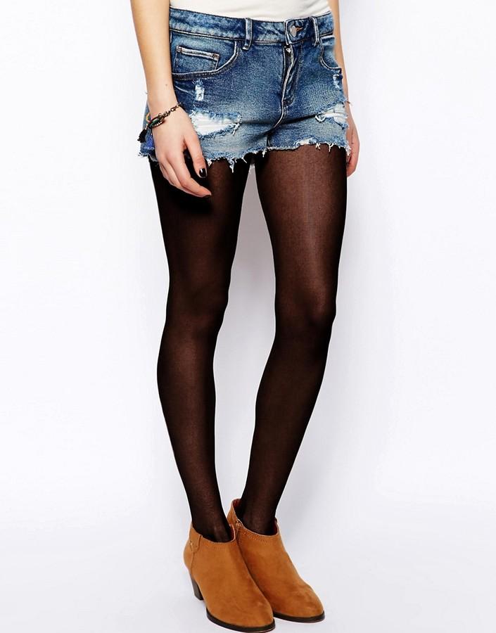 Asos Low Rise Denim Shorts in Vintage Wash