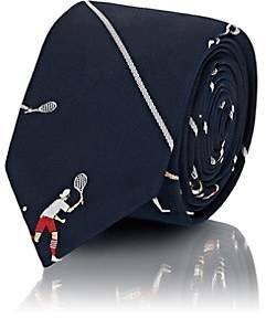Thom Browne Men's Tennis-Player Striped Silk Repp Necktie-Navy