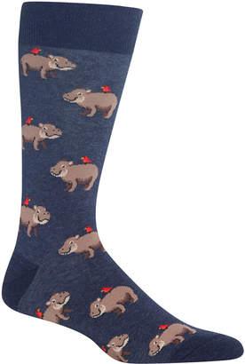 Hot Sox Men's Hippo Crew Socks