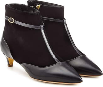 Rupert Sanderson Leather and Stretch Fabric Dawn Booties