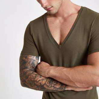 River Island Khaki pique deep V neck muscle fit T-shirt