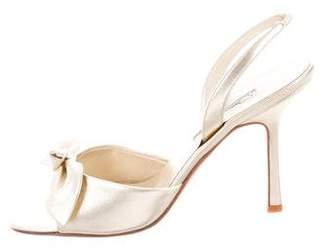 Oscar de la Renta Leather Ankle-Strap Sandals