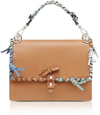 Fendi Kan I M Orzo Leather Lace Up Top Handle Shoulder Bag