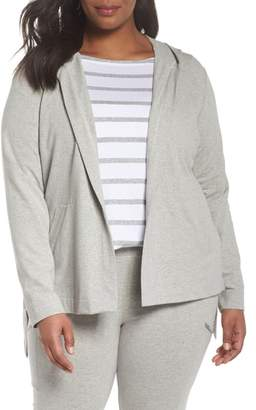 Eileen Fisher Stretch Organic Cotton Knit Hooded Jacket