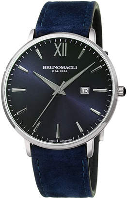 Bruno Magli Men's Roma 42mm Suede Leather Watch, Indigo/Silver