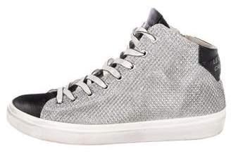 Leather Crown Metallic High-Top Sneakers
