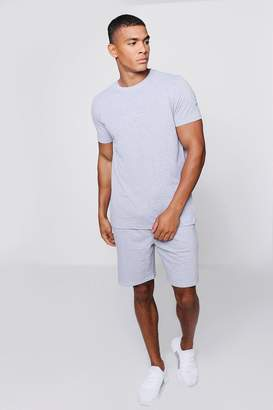 boohoo MAN Signature Embroidered T-Shirt Co-ord
