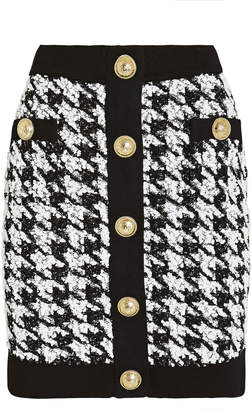 Balmain Houndstooth Tweed Mini Skirt