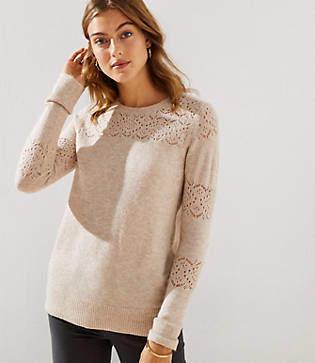 LOFT Petite Lacy Pointelle Sweater